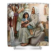 Jesus Teaching The People Shower Curtain