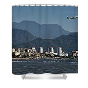 Jet Plane Taking Off From Puerto Vallarta Airport With Pacific O Shower Curtain