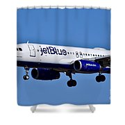 jetBlue Airlines plane in flight Shower Curtain