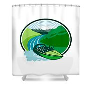 Jetboat River Canyon Mountain Oval Retro Shower Curtain