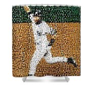 Jeter Walk-off Mosaic Shower Curtain by Paul Van Scott