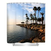 Jetty On Balboa Peninsula Newport Beach California Shower Curtain by Paul Velgos