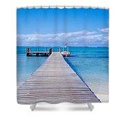 Jetty On The Beach, Mauritius Shower Curtain