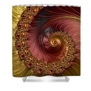 Jewel Gold  Fractal Spiral  Shower Curtain
