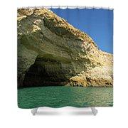 Jewel Toned Ocean Art - Colorful Sea Cave In Algarve Portugal Shower Curtain