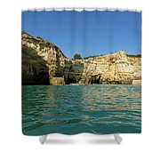 Jewel Toned Ocean Art - Gliding By Sea Caves And Secluded Beaches Shower Curtain
