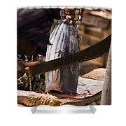 Jeweled Hand Skinning Fish Shower Curtain