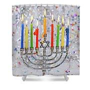 Jewish Holiday Hannukah Symbols - Menorah Shower Curtain