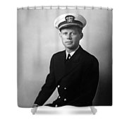 Jfk Wearing His Navy Uniform Painting Shower Curtain