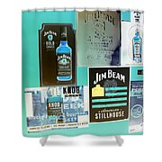 Jim Beam Signs On Display - Color Invert Shower Curtain