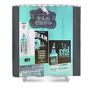Jim Beam's Old Crow And Red Stag Signs - Color Invert Shower Curtain