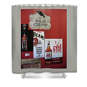 Jim Beam's Old Crow And Red Stag Signs Shower Curtain
