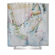 Jimi Hendrix Playing The Guitar.9 - Watercolor Portrait Shower Curtain