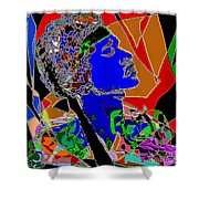 Jimi In Heaven Colorful Shower Curtain by Navo Art