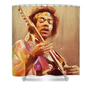 Jimi Jamming Shower Curtain