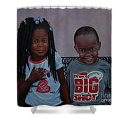 Jimia And Mr Bigshot Shower Curtain