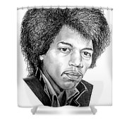 Jimmi Hendrix By Murphy Art. Elliott Shower Curtain