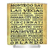 Jimmy Buffett Margaritaville Locations Black Font On Yellow Brown Texture Shower Curtain