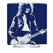 Jimmy Page In Blue Portrait Shower Curtain