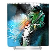 Jimmy Page Lost In Music Shower Curtain