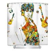 Joan Jett Colorful Paint Splatter Shower Curtain