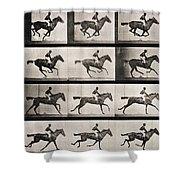 Jockey On A Galloping Horse Shower Curtain