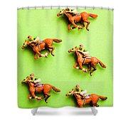 Jockeys And Horses Shower Curtain