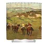 Jockeys On Horseback Before Distant Hills Shower Curtain by Edgar Degas