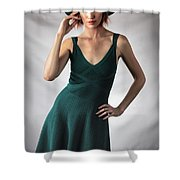 Johanne In Green Shower Curtain