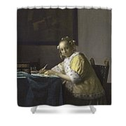 Johannes Vermeer A Lady Writing C.  Painting Shower Curtain