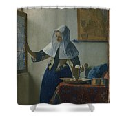Johannes Vermeer Young_woman Shower Curtain