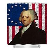 John Adams And The American Flag Shower Curtain