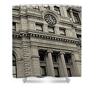 John Adams Courthouse Boston Ma Black And White Shower Curtain