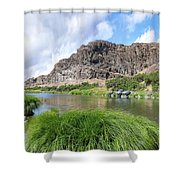 John Day River Landscape In Summer Portrait Shower Curtain