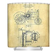 John Deere Tractor Patent Drawing From 1934 - Vintage Shower Curtain