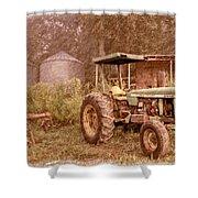 John Deere Antique Shower Curtain by Debra and Dave Vanderlaan