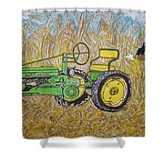 John Deere Tractor And The Scarecrow Shower Curtain