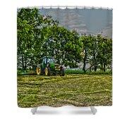 John Deere Tractor At Dusk Shower Curtain