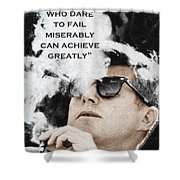 John F Kennedy Cigar And Sunglasses 3 And Quote Shower Curtain