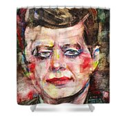 John F. Kennedy - Watercolor Portrait.3 Shower Curtain