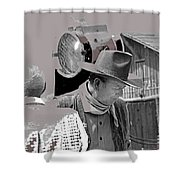 John Wayne And Director Howard Hawks  Alienated Rio Lobo Old Tucson Arizona 1970-2016 Shower Curtain