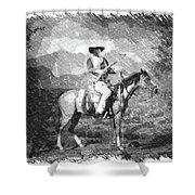 John Wayne At The Ready On Horseback Pa 01 Shower Curtain