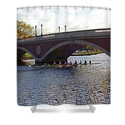 John Weeks Bridge Harvard Square Chales River Sunset Rowers Shower Curtain