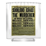 John Wilkes Booth Wanted Poster Shower Curtain