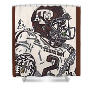 Johnny Manziel 5 Shower Curtain by Jeremiah Colley