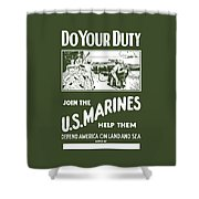 Join The Us Marines Shower Curtain by War Is Hell Store