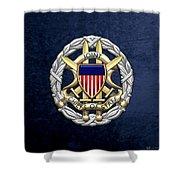 Joint Chiefs Of Staff - J C S Identification Badge On Blue Velvet Shower Curtain