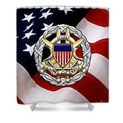 Joint Chiefs Of Staff - J C S Identification Badge Over U. S. Flag Shower Curtain