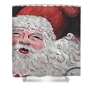 Jolly Santa Shower Curtain by Nadine Rippelmeyer