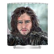 Jon Snow And Ghost Shower Curtain by Denise H Cooperman